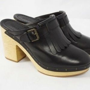 Madewell Black Classic Clogs with Leather Fringe